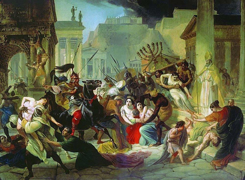 Уличные беспорядки во время вторжения захватчиков в Древний Рим